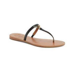 Tory Burch 'T' Logo Black Thong Sandals sz 10